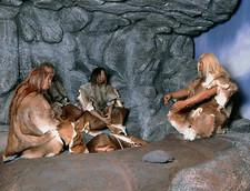 Model of a neanderthal burial scene