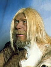 Head of a model of a neanderthal man