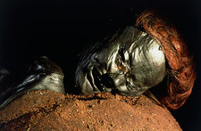 The mummified well-preserved head of Grauballe Man