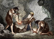 Early humans making fire