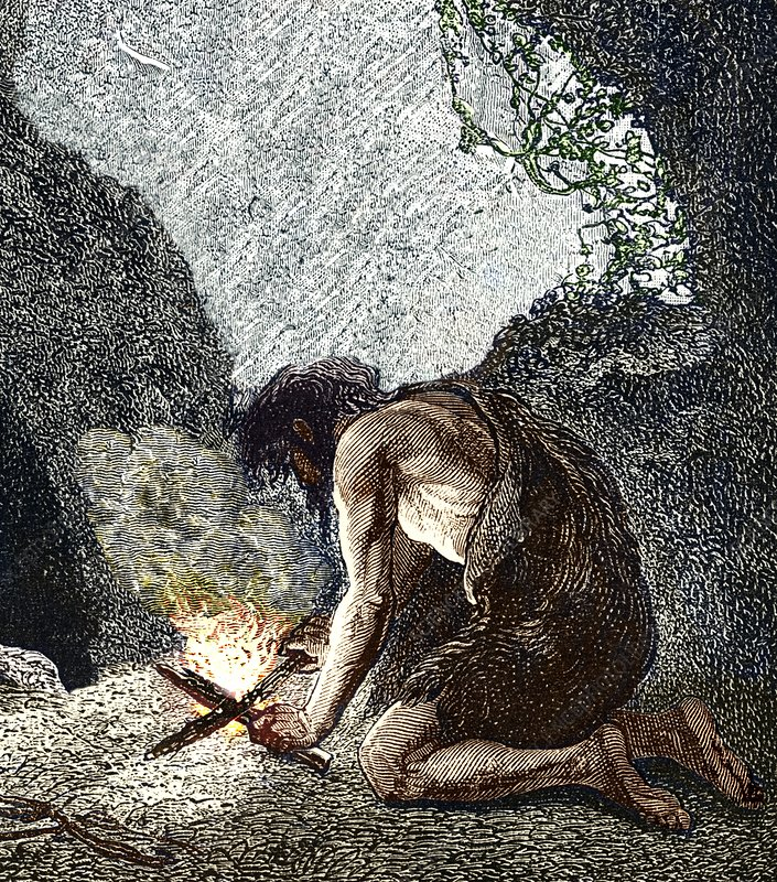 Early human making fire