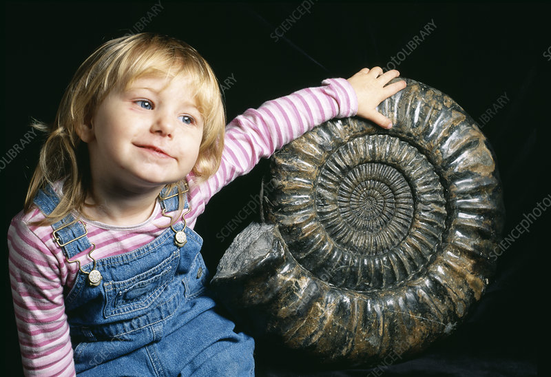 Girl with large ammonite fossil