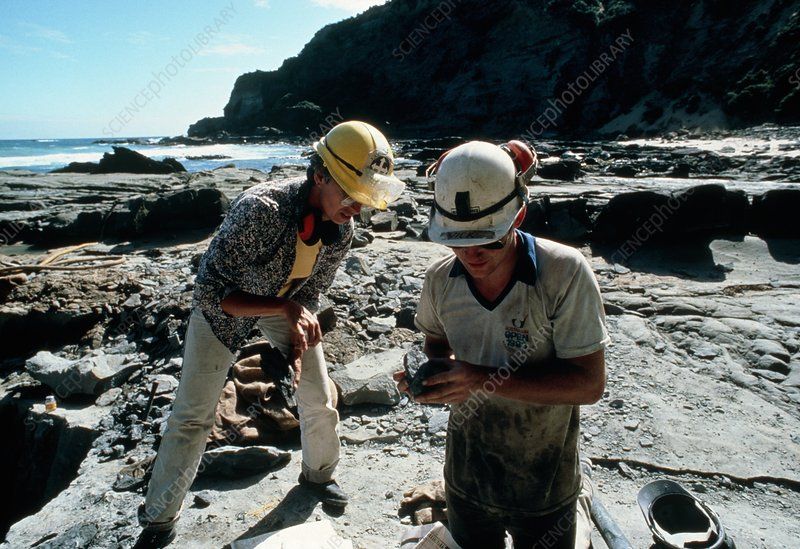 Palaeontologists at work, Dinosaur Cove Australia