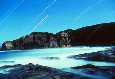 Night view of Dinosaur Cove with startrails