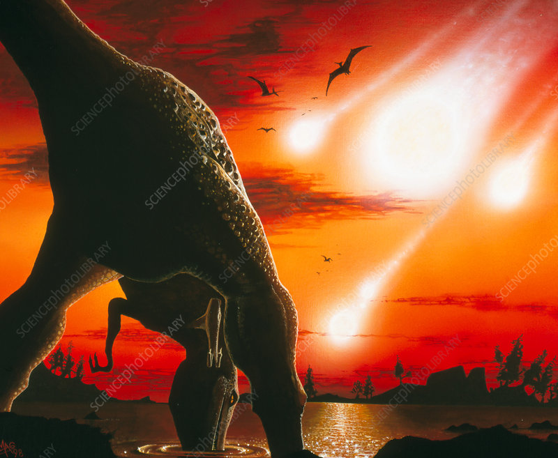 Tyrannosaur drinks from lake as asteroid