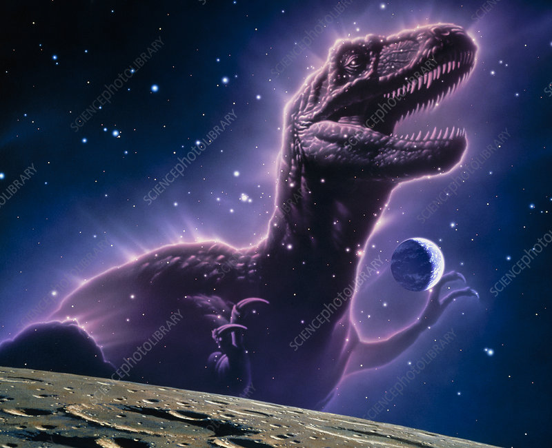 Conceptual art of a ghostly dinosaur over the Moon