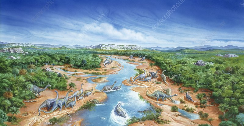 Artwork of a herd of Titanosaurs crossing a river