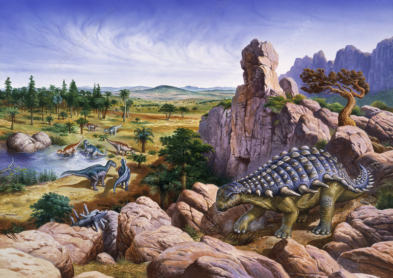 Solitary ankylosaur and a herd of hadrosaurs