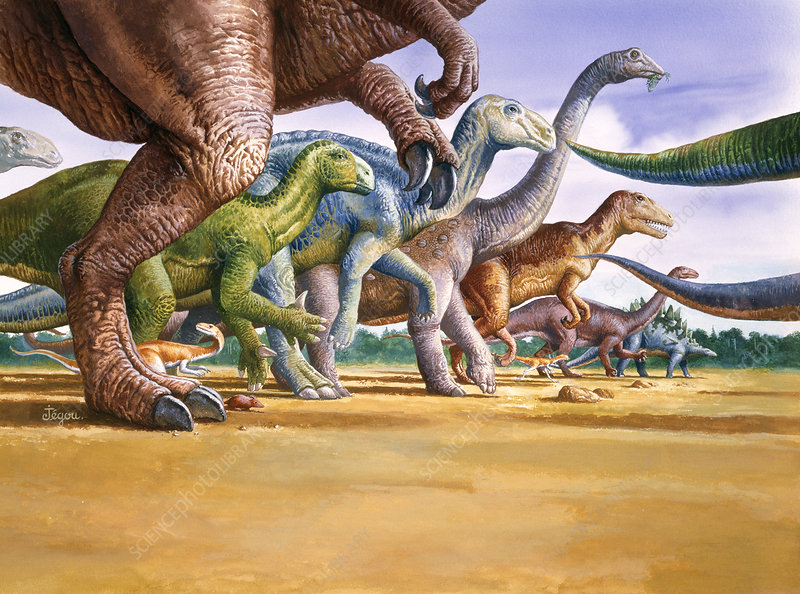 Artwork of the principal dinosaurs of France