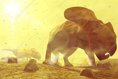 Dinosaurs in dust storm
