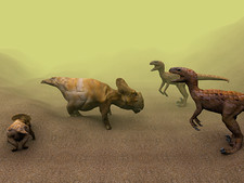 Protoceratops dinosaur defending young