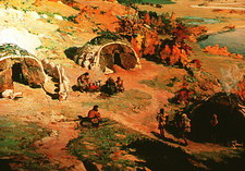 Painting of stone age scene with mammoth bone huts