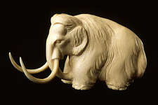 Mammoth figure sculpted from the tusk of a mammoth