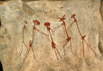 Cave painting: Kolo figures depicting an abduction