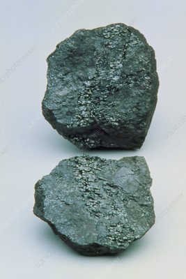 Two lumps of high-grade anthracite coal