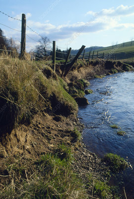 Erosion of riverbank caused by flooding.