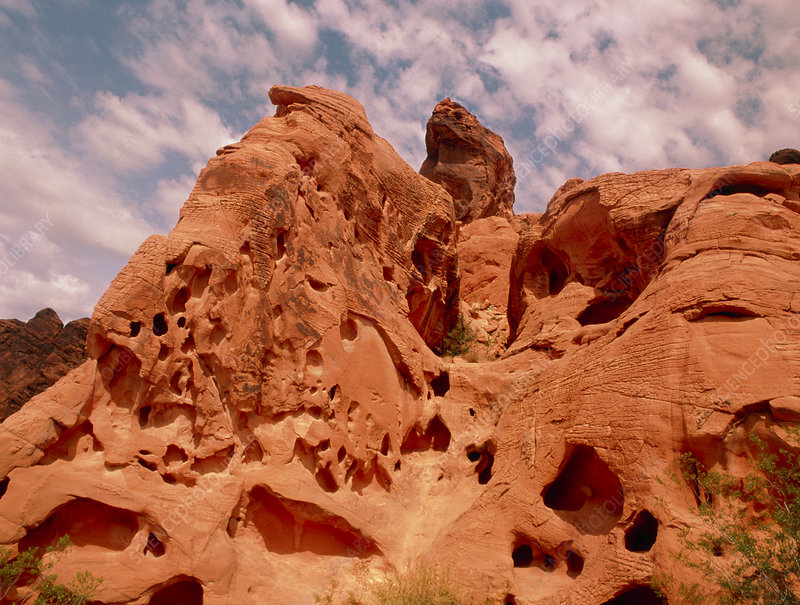 Wind erosion of sandstone rocks