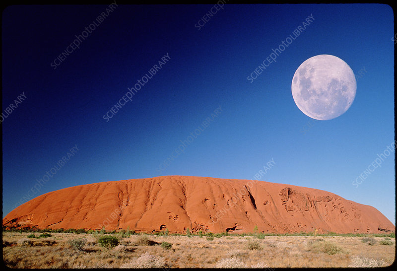 View of Ayers Rock, Australia, with full moon