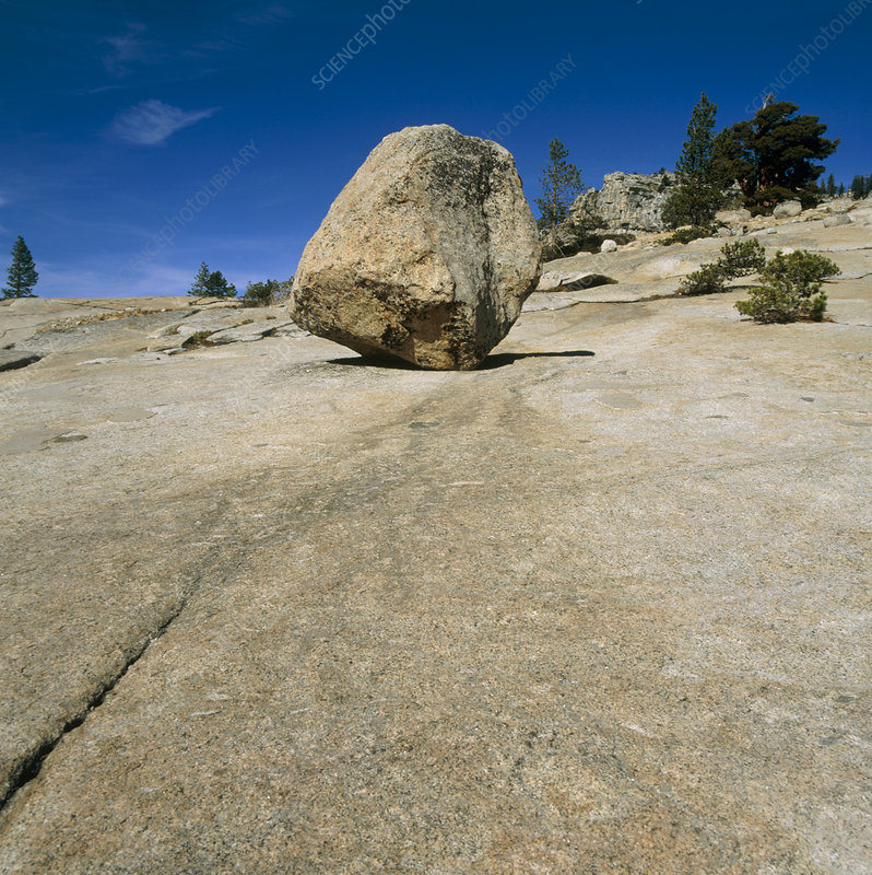 Eroded boulder of granite rock at Yosemite Park