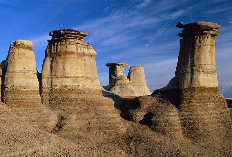 Earth pillars (hoodoos) in Alberta badlands Canada