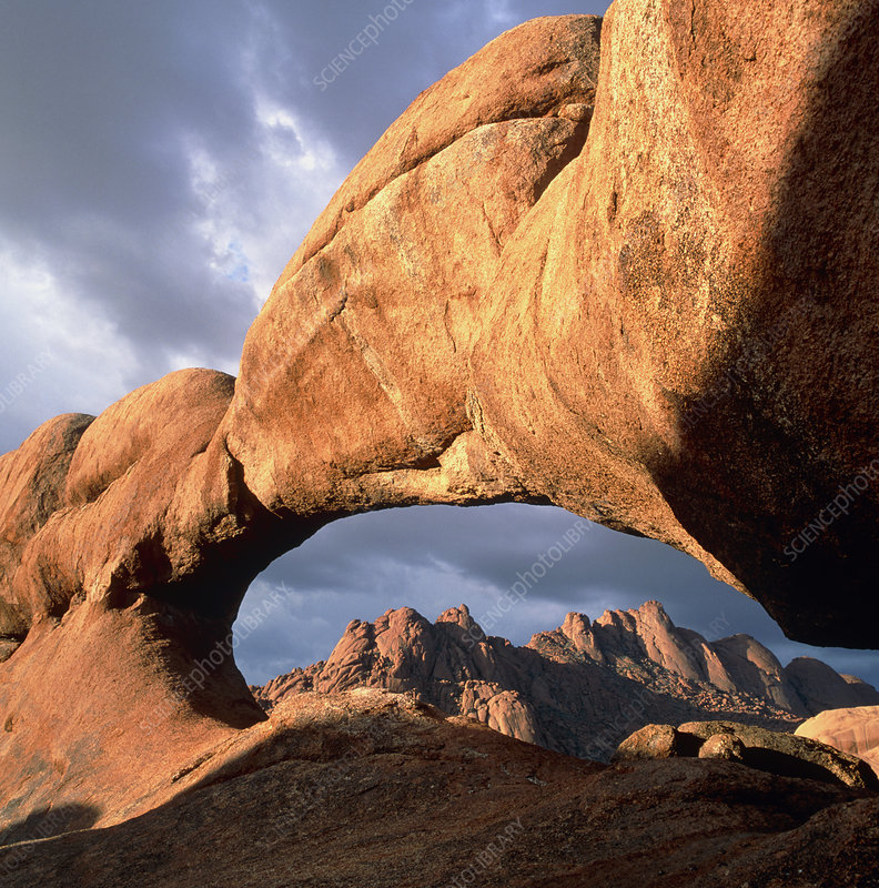 Granite rock arch in mountains in Namibia