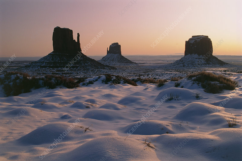 Mitten Buttes at dawn in Monument Valley, Arizona