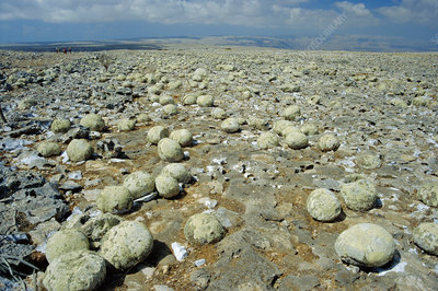Geodes on limestone plateau