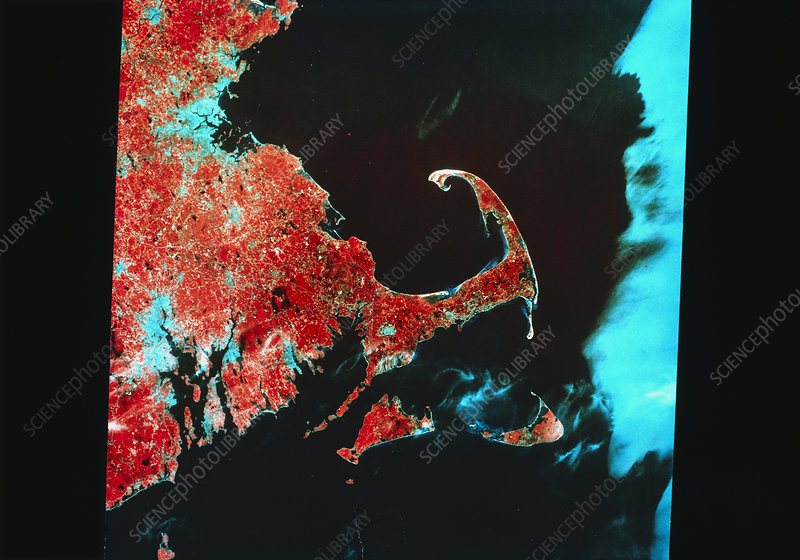 Landsat infrared image of Cape Cod, Massachusetts