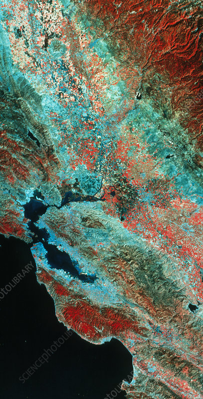 False-col satellite image of Central California