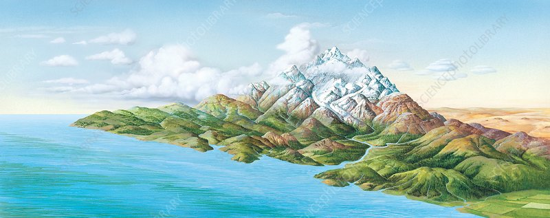 Mountainous landscape, artwork