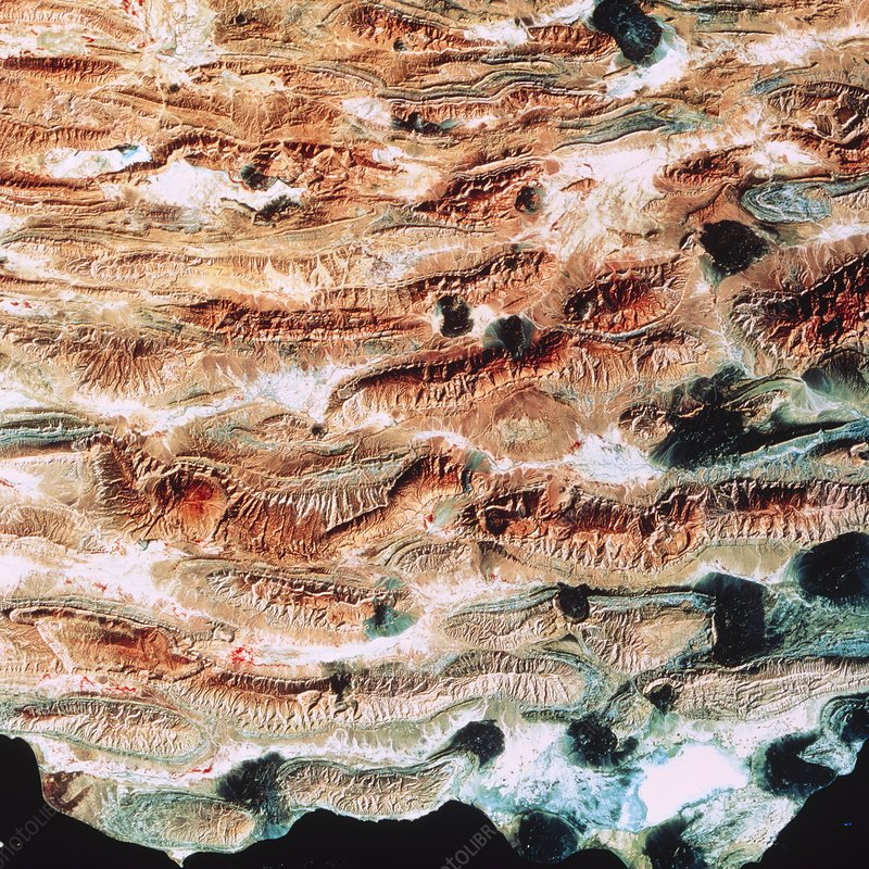 LANDSAT image of Zagros mountains & Bastak, Iran