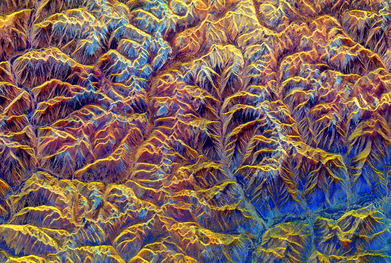 Radar image of mountains in Tibet