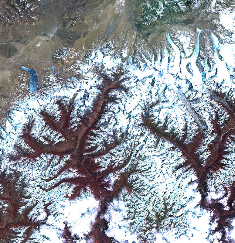 Mountains in Bhutan, satellite image