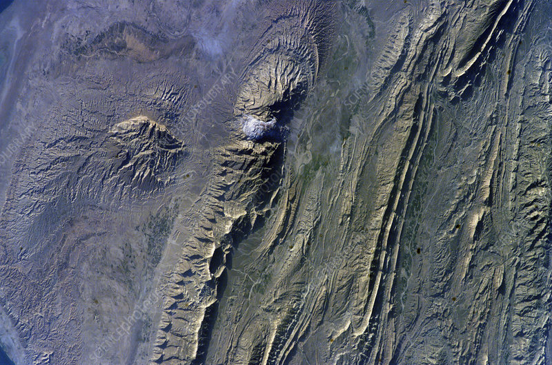 Zagros Mountains, Iran, ISS image