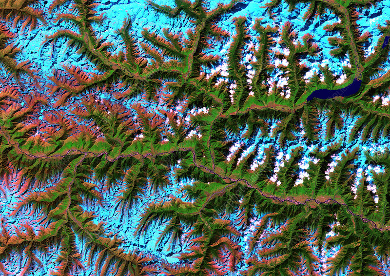 Eastern Himalayas, satellite image
