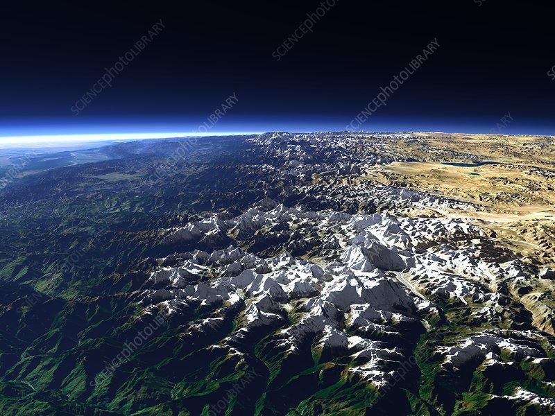 Himalayas, 3D computer artwork
