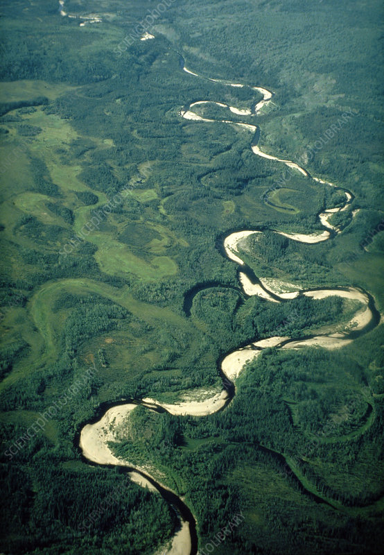 Aerial view of river meanders and ox-bow lake