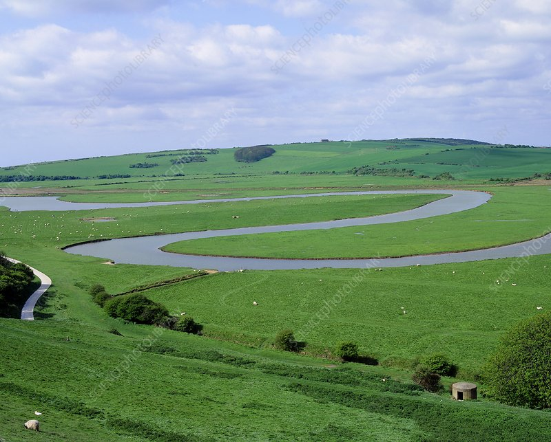 The meandering Cuckmere River, England