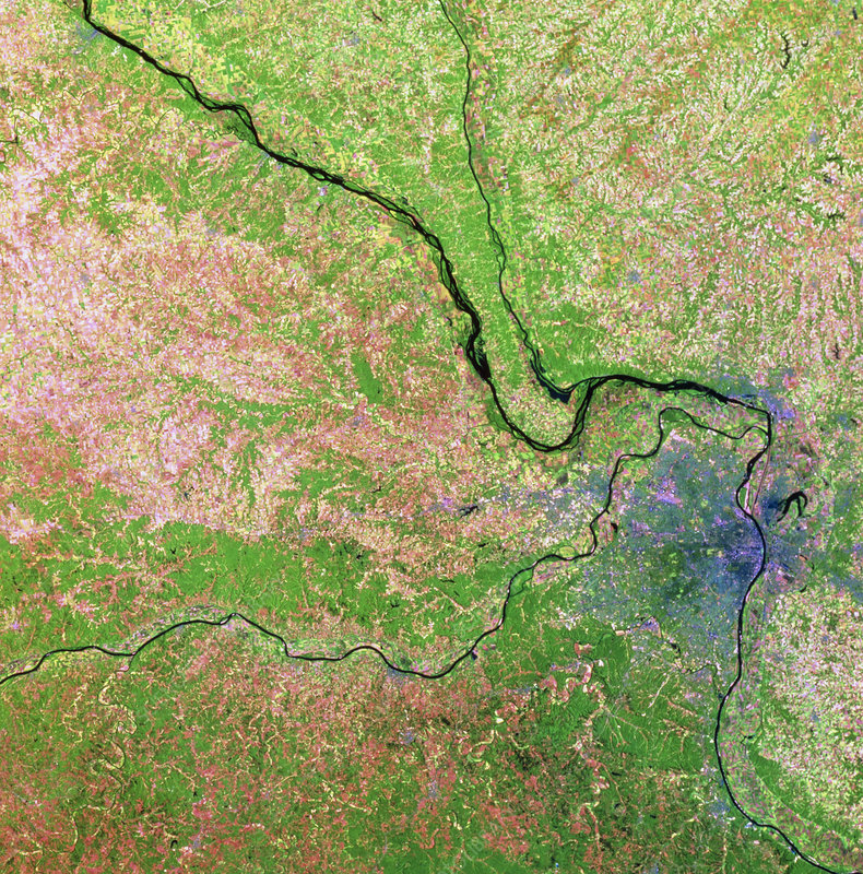Landsat view of St.Louis & Mississippi in 1988