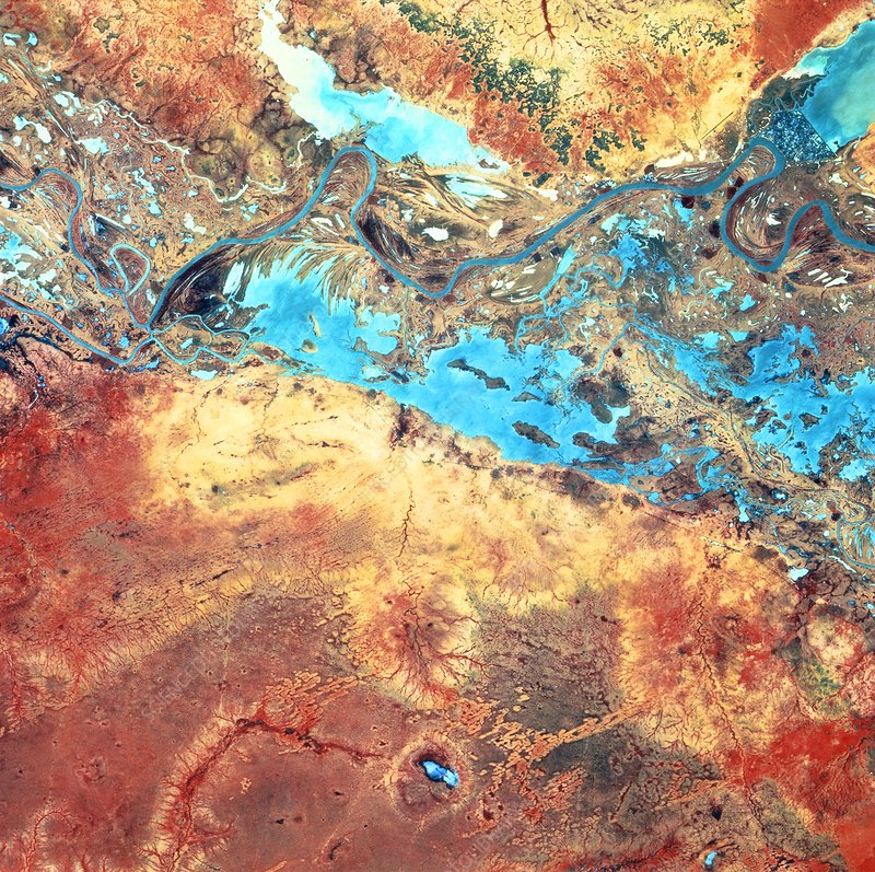 River Senegal in desert boundary, SPOT image