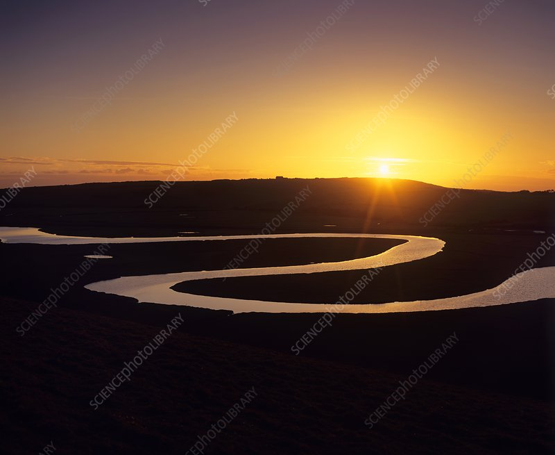Science photo library caption meander in river sunset over a meander