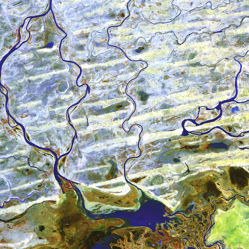 Saharan desert rivers, satellite image