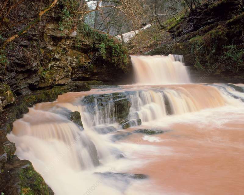 Discoloured waterfall