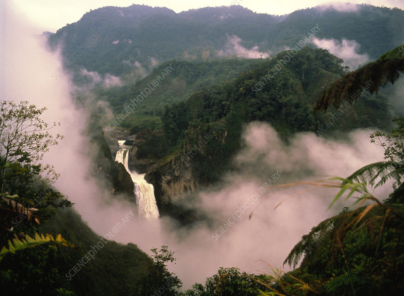 Waterfall and mist in the foothills of the Andes