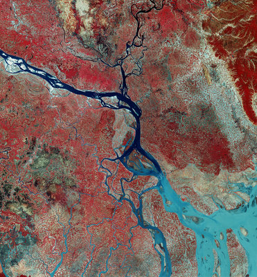 Landsat photo of the Ganges Delta, Bangladesh