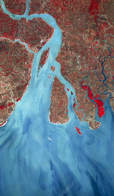 Infrared SPOT satellite image of the Ganges Delta