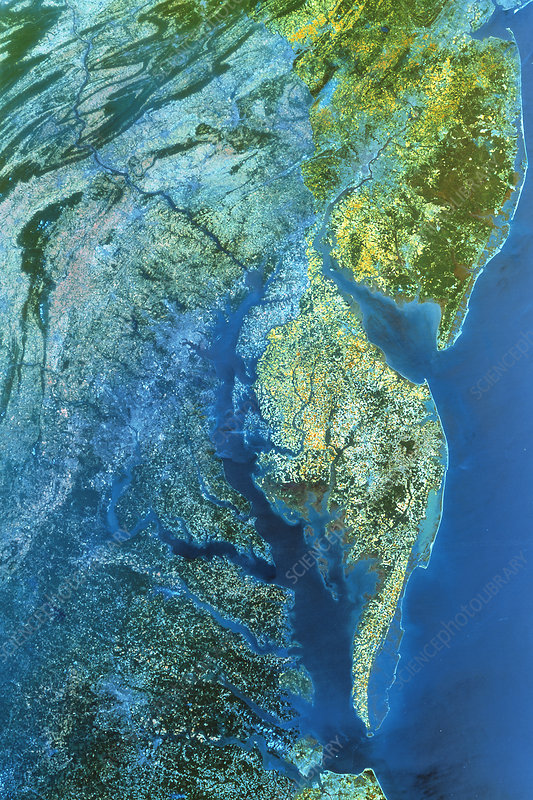Infrared satellite image of Chesapeake Bay estuary