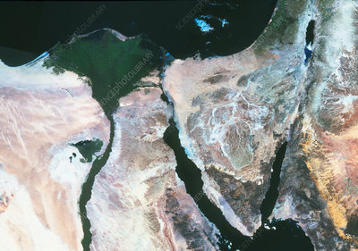 True-colour satellite image of the Nile Delta