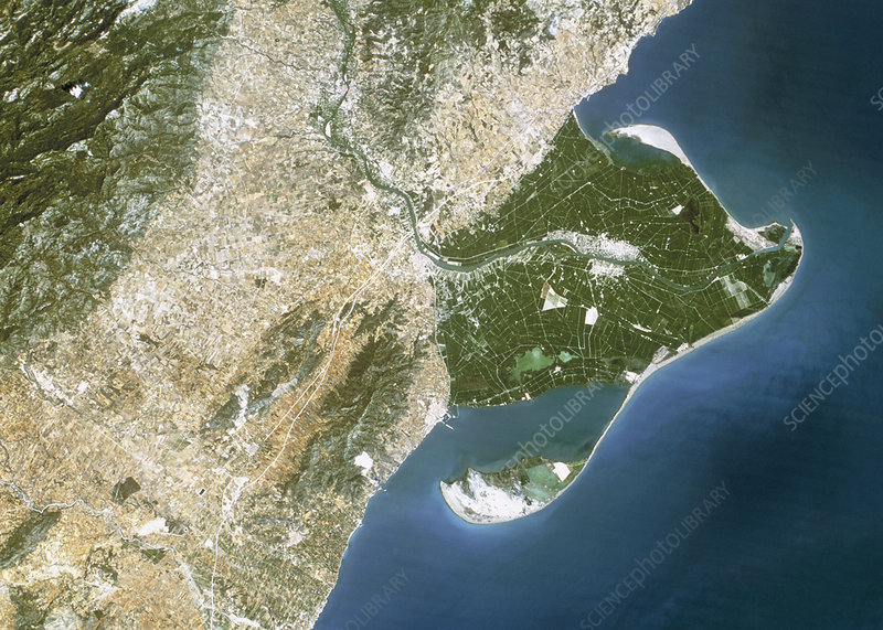 True-colour satellite image of the Ebro Delta