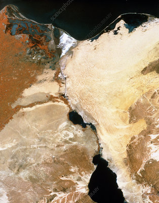 Infrared satellite image of Suez canal & Nile dlta
